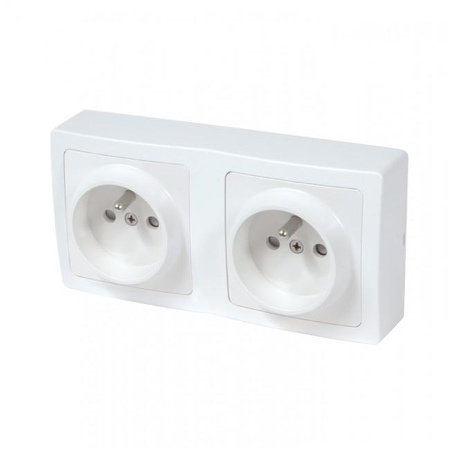 Double prise de courant + terre pré câblee saillie complète - blanc - Blok DEBFLEX