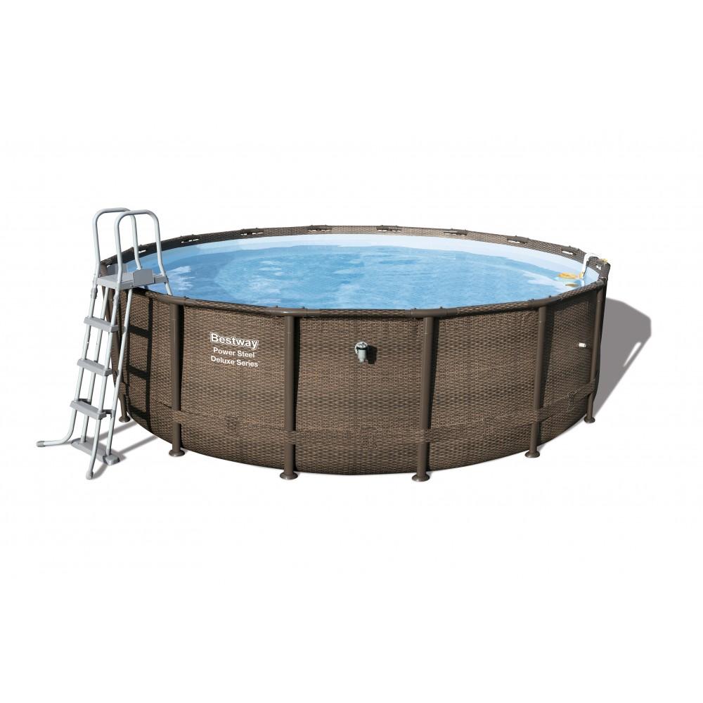 Piscine tubulaire ronde imitation tress 488x122cm for Accessoire piscine 74