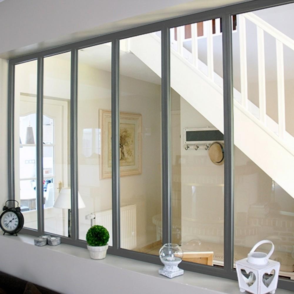 A Quelle Hauteur Poser Une Verriere kit verrière intérieure avec vitrage - 6 panneaux - 108 x 183,2 cm kit  atelier