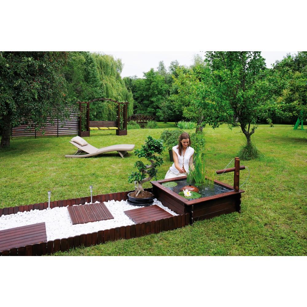 Bassin de jardin en bois carr 290 l tokyo b che pompe for Bache exterieur jardin