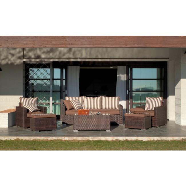 Salon de jardin OROTAVA 10 : canapé, 2 fauteuils, table basse, 2 tabourets INDOOR OUTDOOR