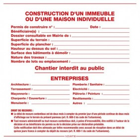 Panneau permis de construire NOVAP