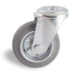 Roulette pivotante sur oeil tole - bandage caoutchouc gris AVL
