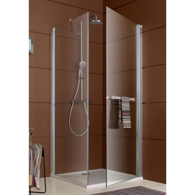 Paroi de douche fermée pivotante + paroi fixe à 90°  - profilé argent brillant Django LEDA