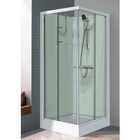 Cabine de douche carré 80x80 cm - portes coulissantes - Iziglass LEDA