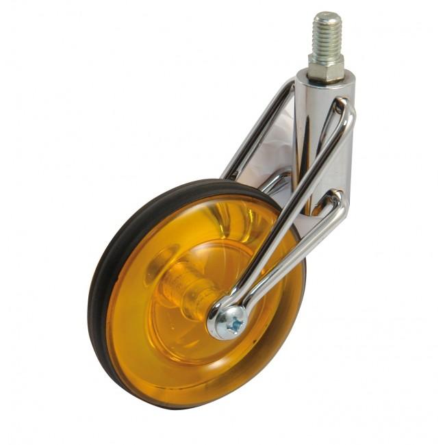 Roulette de meuble pivotante sur tige filetée - roue orange translucide AVL