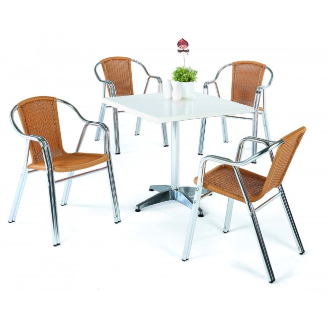 Table bistrot carré Galles et 4 fauteuils Galles 3 INDOOR OUTDOOR