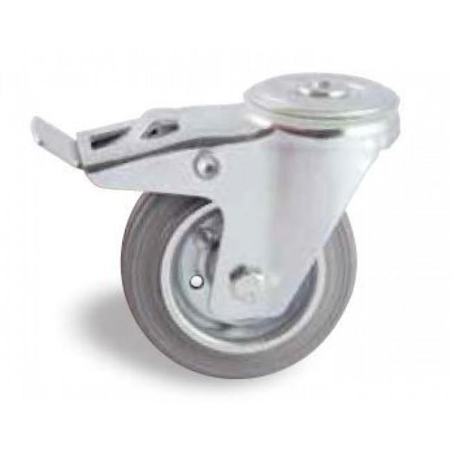 Roulette pivotante à frein sur oeil tole - bandage caoutchouc gris AVL