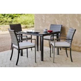 Table de jardin Maracaibo 90 cm et 4 fauteuils avec coussins écru INDOOR OUTDOOR
