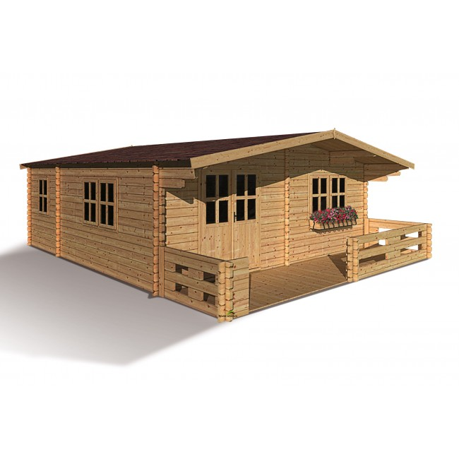 Abri de jardin bois - surface 35,3 m2 - épaisseur 44mm - 4 pièces - Lipki MADEIRA