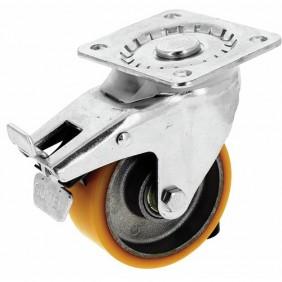 Roulette pivotante - à blocage sur platine - roue althane - Fortainer GUITEL