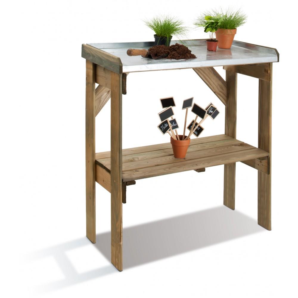 Table de pr paration en bois pour le jardinage longueur for Cie 85 table 4