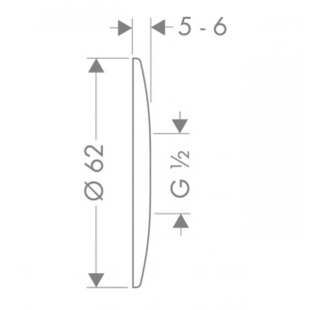 Rosace Plate Chromée Diamètre 62 Mm Hansgrohe