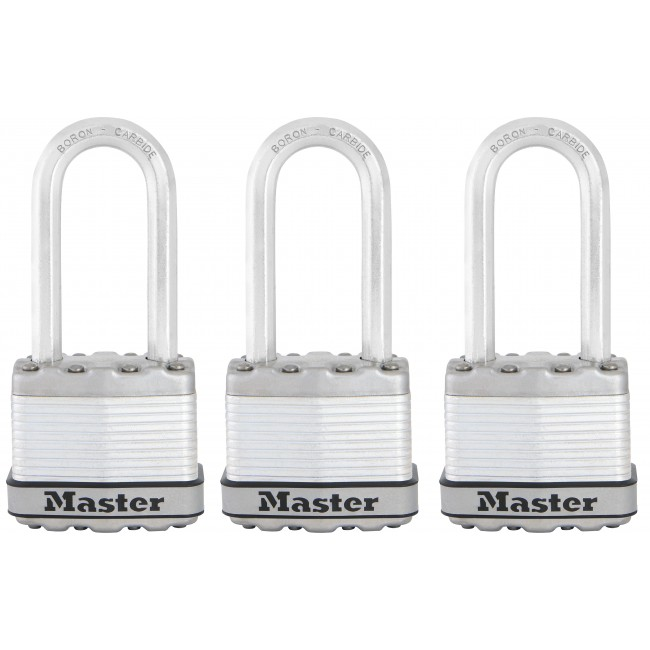 Lot de 3 cadenas à clé - acier laminé - 45 mm de large - anse de 51 mm MASTER LOCK