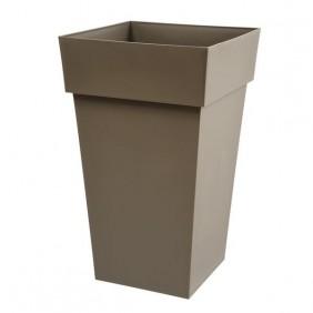 Pot carré haut taupe - 39 x 39 cm - 62 litres - Toscane 13635 EDA PLASTIQUES