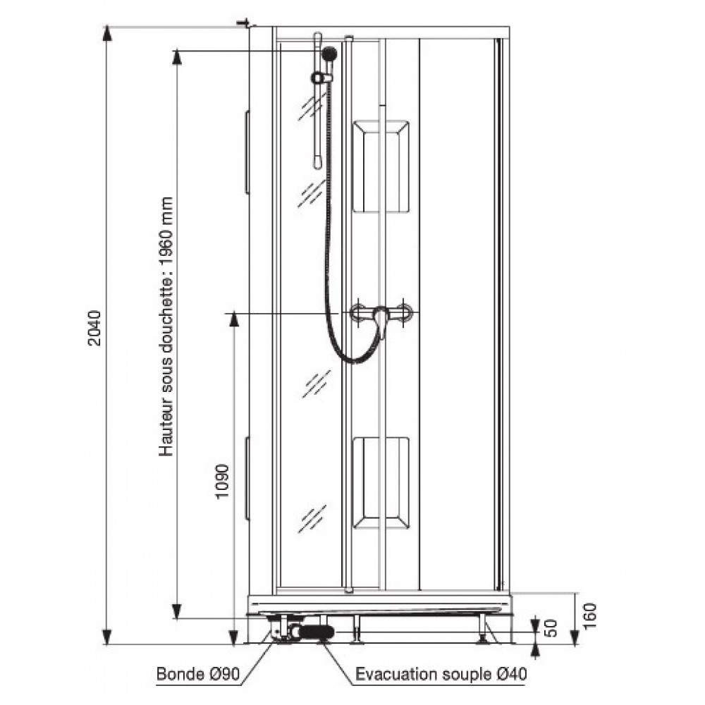 Cabine de douche 80x80 cm - accès de face par portes battantes ...