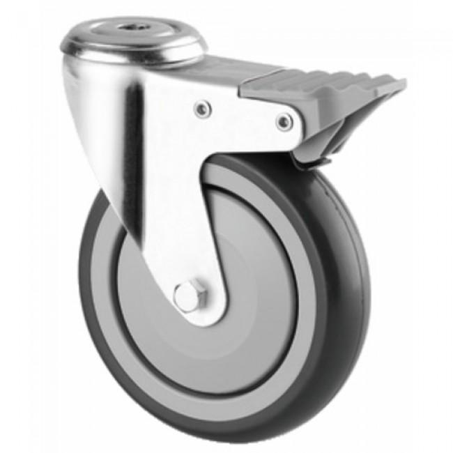 Roulette pivotante avec blocage - fixation à œil - bandage caoutchouc TENTE