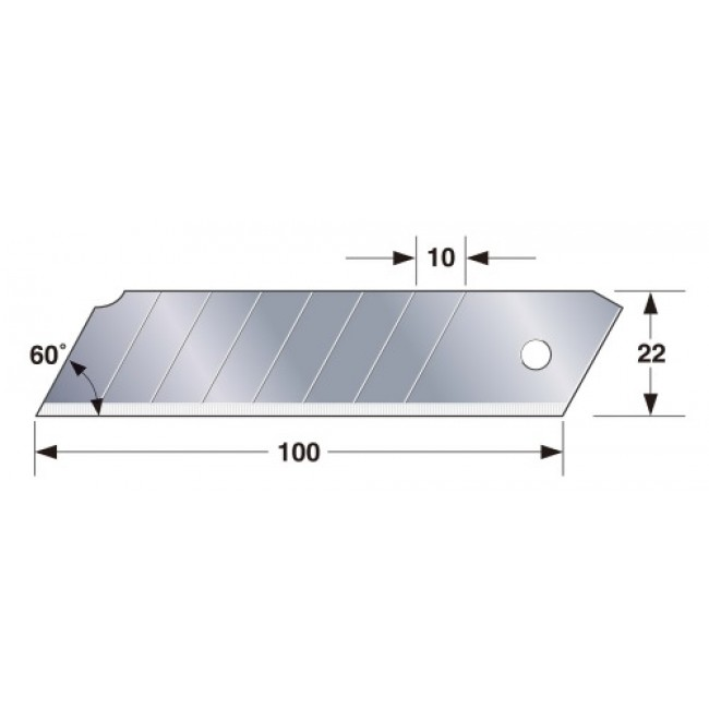 10 Lames de rechange 22 mm pour cutter à poignée TAJIMA