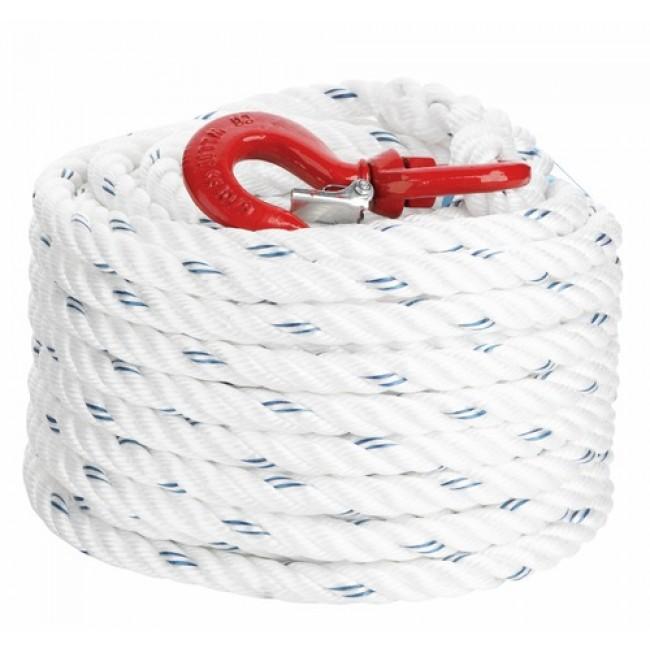 Corde à poulie polypropylène avec crochet - diamètre 20 mm CORDERIE MESNARD