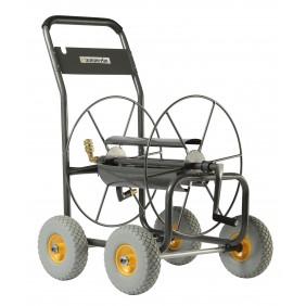 Chariot dévidoir métallique - 4 roues - 110 m de tuyau HAEMMERLIN