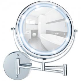 Miroir grossissant x5 - support mural - bras articulé - LED - PowerLoc WENKO