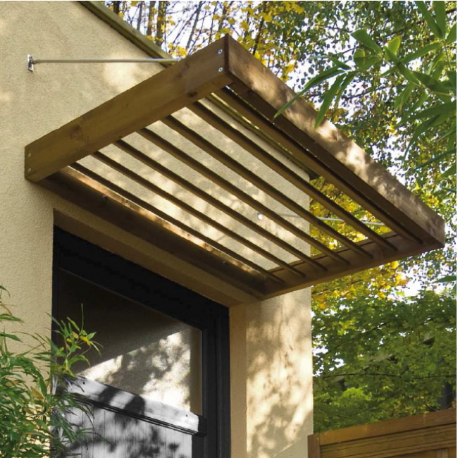 marquise en bois pour porte d 39 entr e 0 96 m lumilam jardipolys bricozor. Black Bedroom Furniture Sets. Home Design Ideas