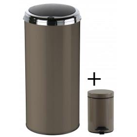 Poubelle de cuisine automatique 45 L + poubelle salle de bain 3 L - marron ROSSIGNOL
