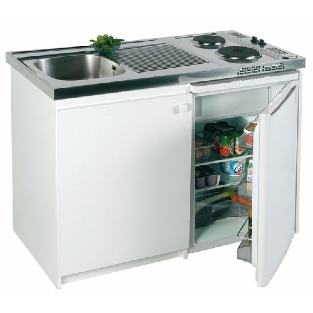 Kitchenette avec plaques et r frig rateur confort inox - Frigo a cote plaque cuisson ...