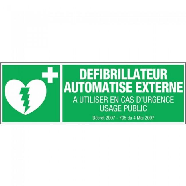 Signalétique défibrillateur - rectangles rigides - 450x150 mm NOVAP