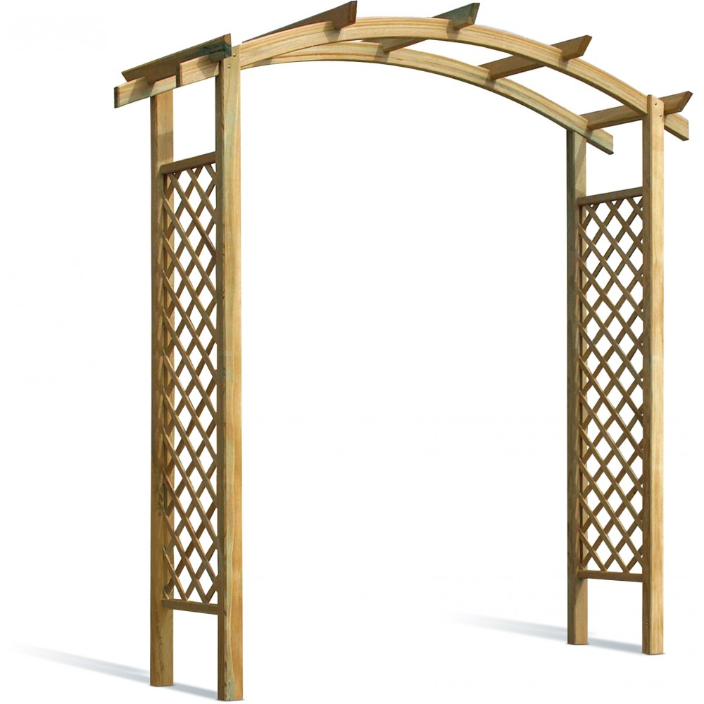 Pergola en bois 220 cm capucine avec treillage bricozor - Treillage bois jardin ...