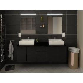 Meuble de salle de bain 150cm - LISIA - gris ou noir BAIN ROOM