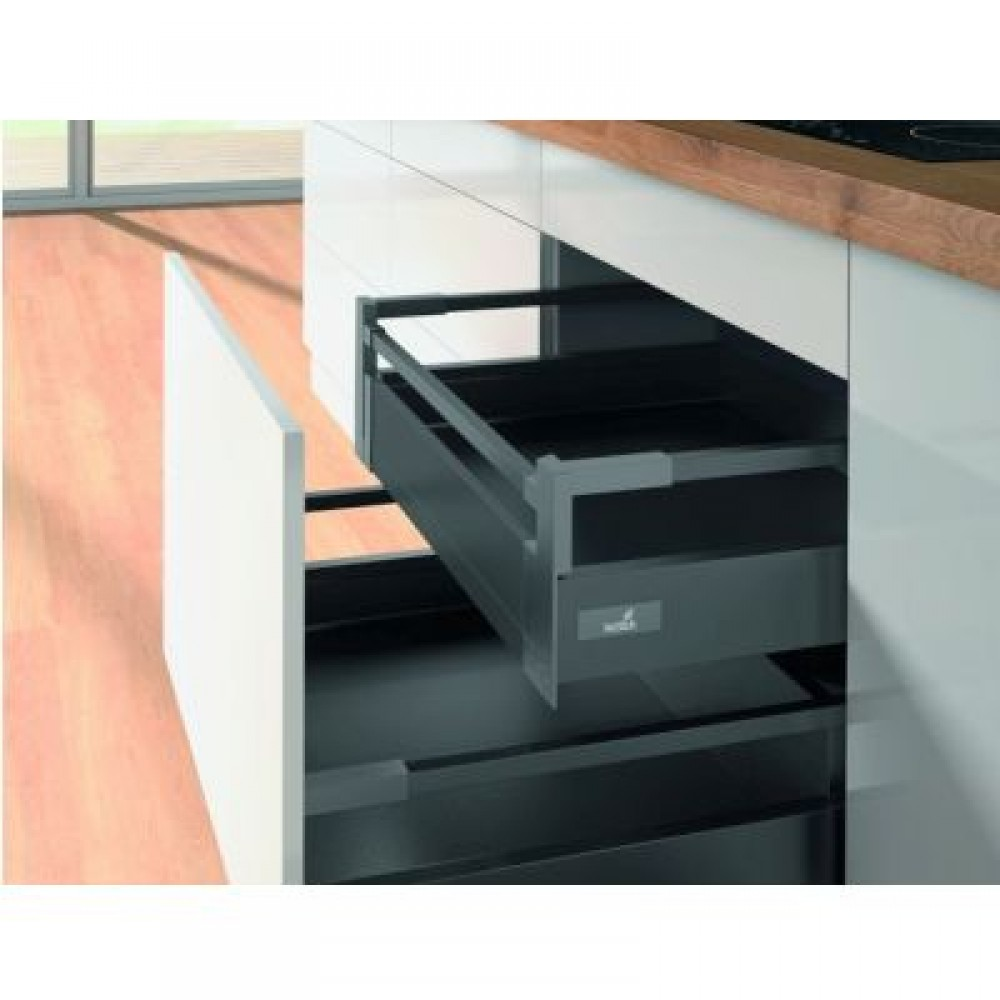 kit tiroir l 39 anglaise avec tringles hauteur 144 mm anthracite hettich bricozor. Black Bedroom Furniture Sets. Home Design Ideas