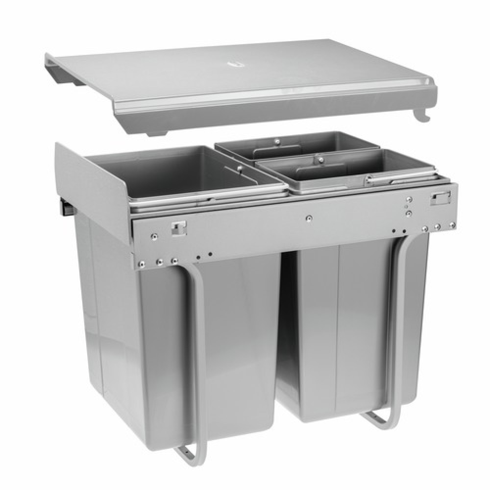 poubelle coulissante pour tri slectif 3 bacs 40 litres practi eco gtv - Poubelle Tri Selectif 3 Bacs