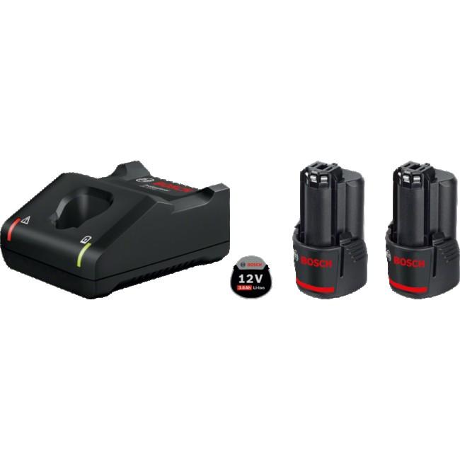 Batterie GBA 12 Volts 3.0 Ah x2 + chargeur GAL 12V-40 - 1600A019RD BOSCH
