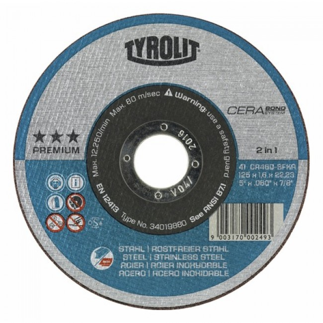 Disque à tronçonner Prémium Cerabond-diamètre 125mm-moyeu plat TYROLIT