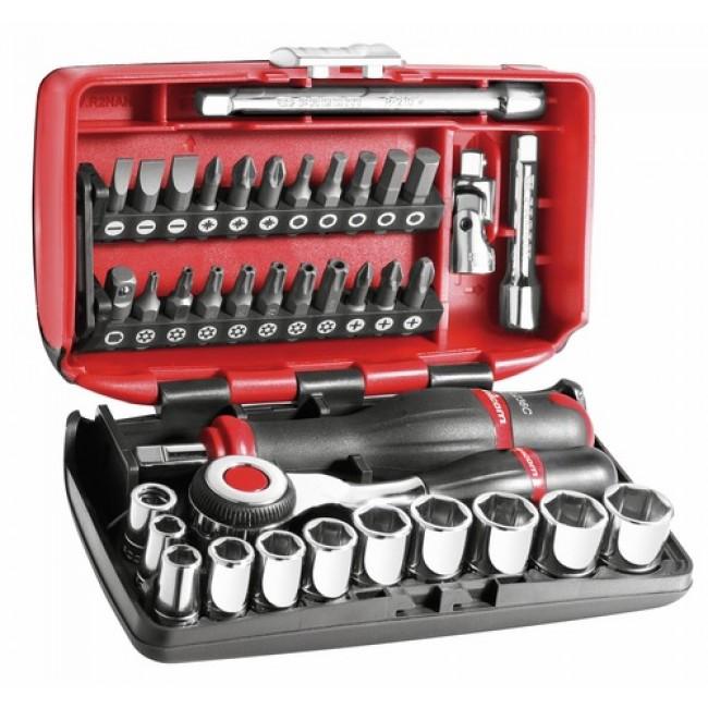 coffret compact 38 outils douilles cliquet 1 4 vissage facom bricozor. Black Bedroom Furniture Sets. Home Design Ideas