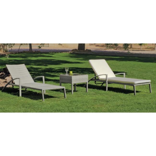 Chaise longue Maracaibo 12 et coussin Anais blanc