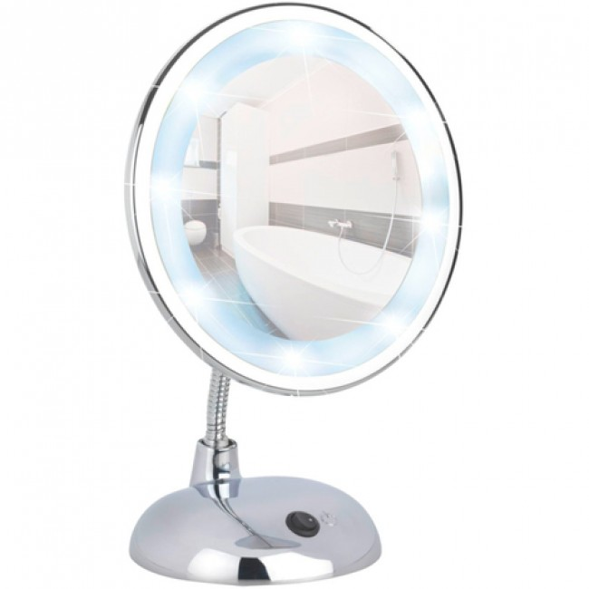Miroir grossissant x3 - Pied orientable - LED Bouton on/off sur socle WENKO