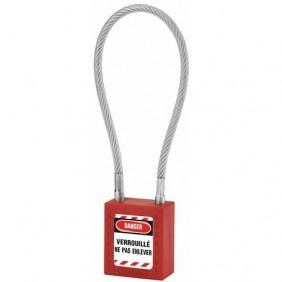 Cadenas de consignation - câble inox gaîné - corps ABS rouge FTH THIRARD