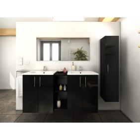 Meuble de salle de bain 120cm + 1 colonne - Laqué Noir ou Gris BAIN ROOM