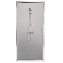 Porte de douche - coulissante/2 vantaux -120cm-verre transparent -Tyxo LEDA