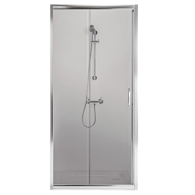 Paroi de douche - coulissante/2 vantaux -120cm-verre transparent -Tyxo LEDA