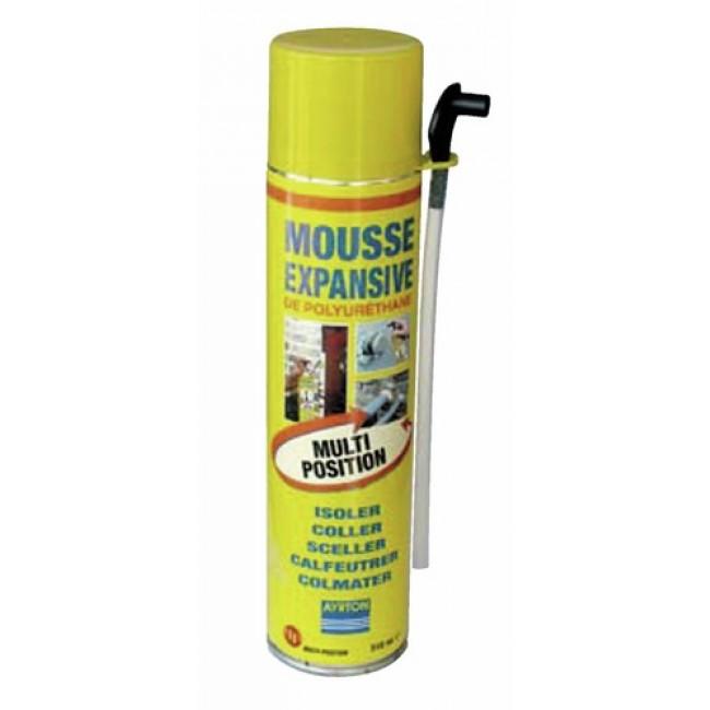 Mousse polyuréthane, bombe manuelle multi positions - 510 ml AYRTON