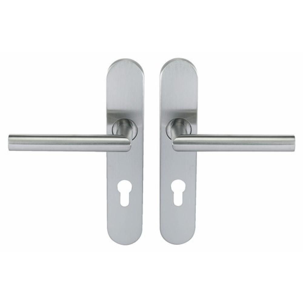 poign es de porte droites sur plaques inox 304 ligne 19 type v normbau bricozor. Black Bedroom Furniture Sets. Home Design Ideas