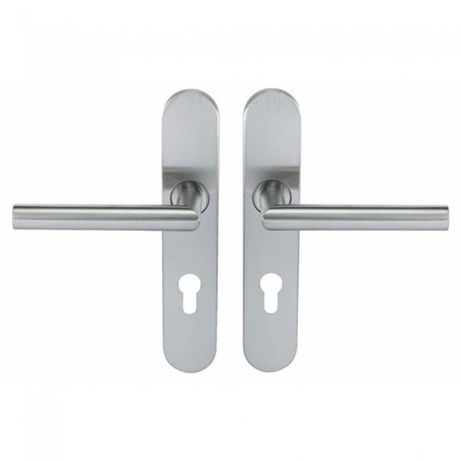 Poignées de porte droites sur plaques - inox 304 - Ligne 19 type V NORMBAU
