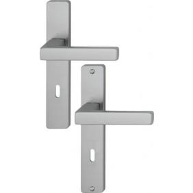 Poignées de porte sur grandes plaques - aluminium - Toulon HOPPE