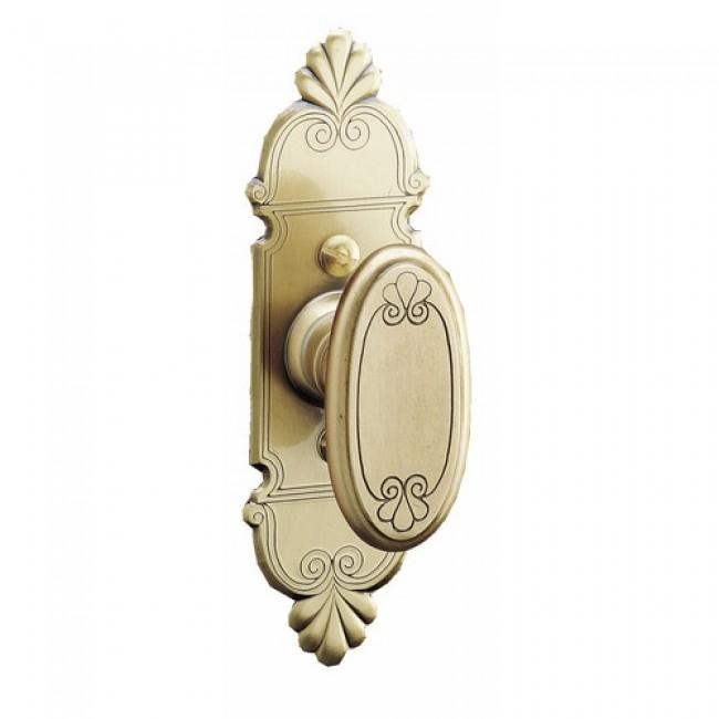 Bouton de fenêtre sur rosette - style rustique - laiton poli - Mansart BOUVET