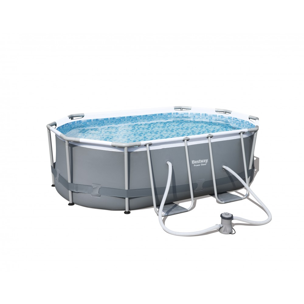 Piscine tubulaire ovale 300x200x84cm power steel frame for Piscine bestway tubulaire