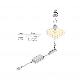 Connecteur à encastrer - 2 ports USB EMUCA