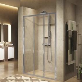 Porte de douche - portes coulissantes - verre transparent -Lunes 2.0 3P NOVELLINI